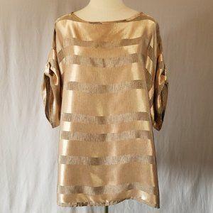 Vintage 80s Clichy Gold Striped Satin Top OS